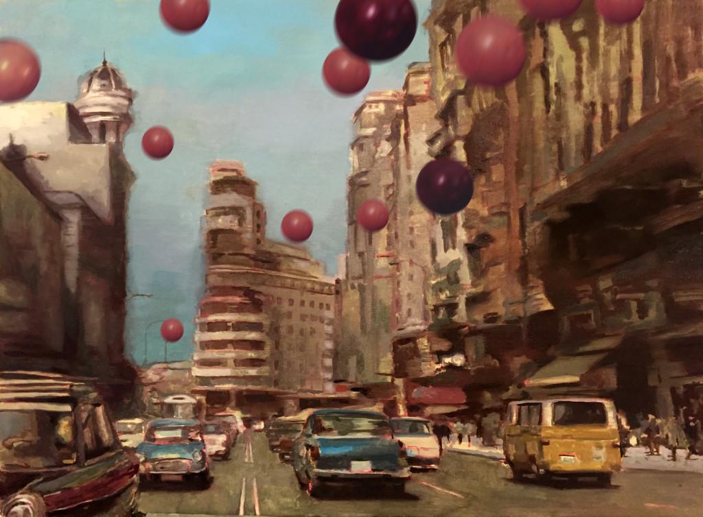 Me gustaría llenar los socavones madrileños de aire contenido en globos de color púrpura